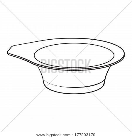 Color mixing plastic hairdresser bowl, sketch style vector illustration isolated on white background. Hairdresser bowl for color mixing, hair bleaching