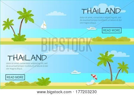Thailand touristic web banner. Sunny beach with palms, chaise lounge and yachts in ocean flat vector illustration. Leisure in tropical country horizontal concept for travel company landing page