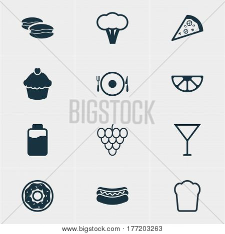 Vector Illustration Of 12 Cooking Icons. Editable Pack Of Lime, Serving, Martini And Other Elements.