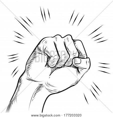 Hand punch line illustration vector stock art