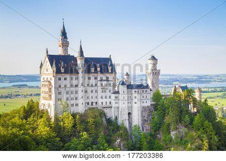 Neuschwanstein Castle At Sunset, Bavaria, Germany