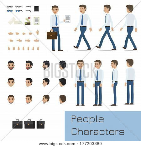 Businessman character generator with various emotions on face, palm gestures and business attributes. Standing and walking figures of man in shirt and tie flat vector illustrations isolated on white