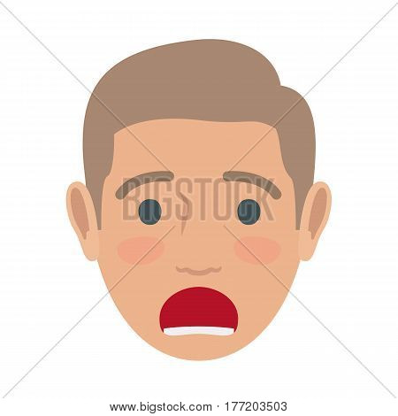 Surprised brown-haired man face icon. Male head in full face view with open mouth and raised eyebrows flat vector isolated on white background. Human emotions illustration for people infographics