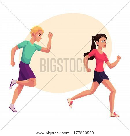 Couple of runners, sprinters running, race, competition, healthy lifestyle concept, cartoon vector illustration with place for text. Male and female runners, sprinters, joggers