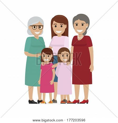 Two little sisters standing with their happy mother, grandmother and grand grandma flat vector isolated on white background. Four generations of women illustration for family values concepts