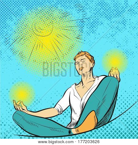 Man meditates in the Lotus position pop art comic style vector