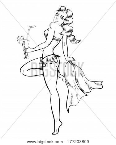 Cute Pin-Up Gal - Retro Clip Art Illustration vector