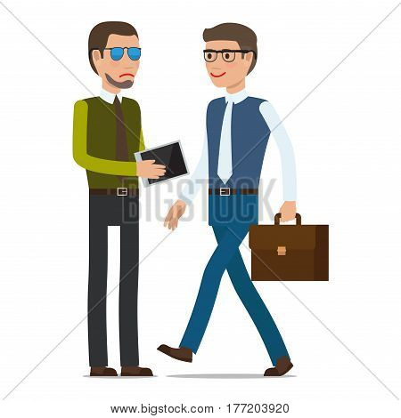 Two men make a transaction on white background. Man in sunglasses with beard conveys tablet to man with brown suitcase in glasses. Vector illustration businessman career people card design.