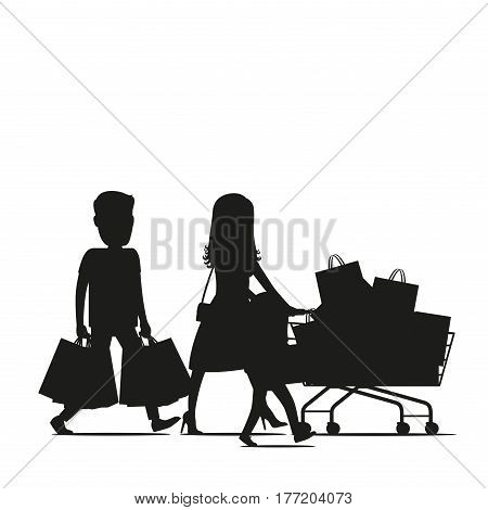 Family making holiday purchases silhouette. Parents with child walking with bought goods in shopping trolley and paper bags isolated vector. Customers illustration for shopping and sale concept