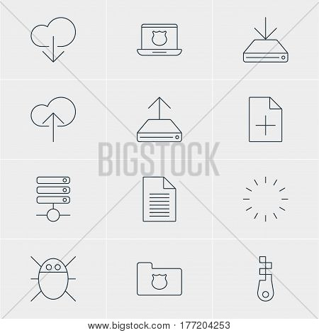 Vector Illustration Of 12 Network Icons. Editable Pack Of Information Load, Computer Virus, Cloud Download And Other Elements.