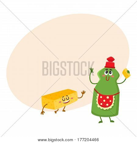 Funny dish washing liquid bottle and sponge characters with smiling human face, cartoon vector illustration with place for text. Dish washing liquid and sponge characters, kitchen tools