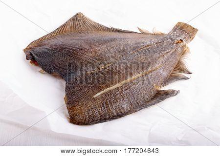 Smoked fish - flounder on white background