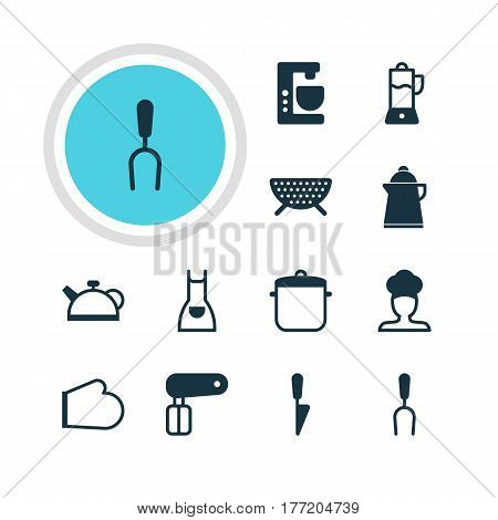 Vector Illustration Of 12 Restaurant Icons. Editable Pack Of Mixer, Sieve, Oven Mitts And Other Elements.