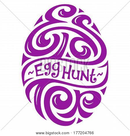 Easter Egg Hunt hand-drawing Lettering in the Shape of Egg for Greeting Card or Party Invitation. Holiday Symbol Isolated on White Background. Vector Typography Inscription