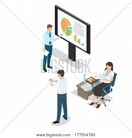 Business people daily working moments on white background. Man standing and pointing to chart on monitor, woman sitting and looking at paper, another man outlines performance vector illustration