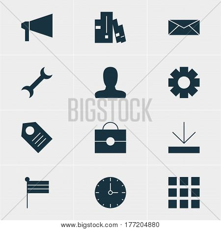 Vector Illustration Of 12 Online Icons. Editable Pack Of Coupon, Settings, Map Marker And Other Elements.