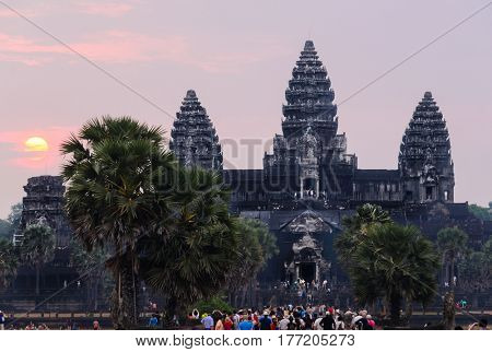 Angkor Wat, part of Khmer temple complex, popular among tourists ancient landmark and place of worship in Southeast Asia. Siem Reap, Cambodia.