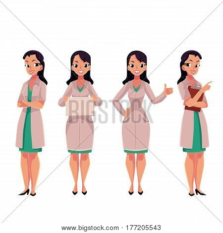 Young, beautiful female, woman doctor in white medical coat holding folder, sign, clipboard, cartoon vector illustration isolated on white background. Full length portrait of female, woman doctor