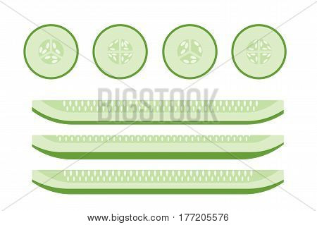 Set of Cucumber Slices, Flat Vector Icons For Food Decor.
