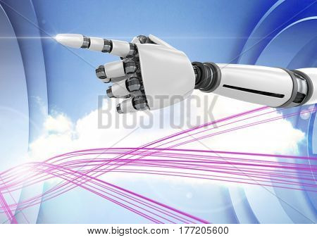 Digital composite of robot hand pointing against sky