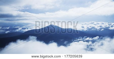 Picturesque view of the mountains. Dramatic evening scene. Location place Carpathian Mountains the highest mountain of Ukraine - Hoverla. Artistic picture. Beauty world.