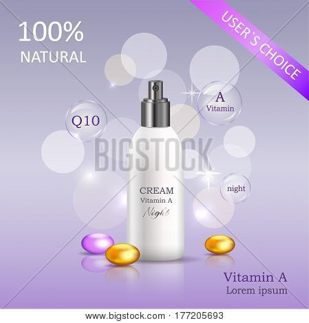 Natural night cream enriched vitamins in glossy tube near golden pebble vector banner. Users choice cosmetic skincare product illustration on gradient background with sparkles and bokeh lights