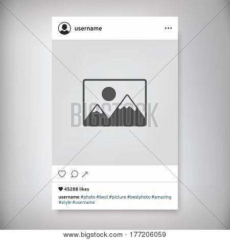 Social network photo frame vector illustration. Social media-Instagram. Social network post. Modern design for photo with shadow.