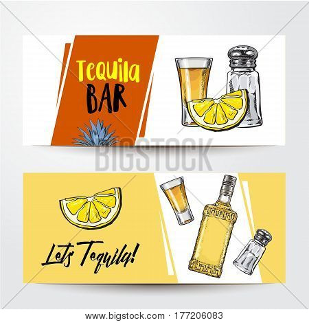 Banners with tequila bottle, shot, lemon, salt and place for text, sketch vector illustration isolated on white background. Party banner, label design, decoration element with tequila bottle and shot
