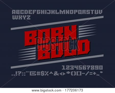 Bold serif typeface. Uppercase letters, numbers and symbols. Eps8. RGB Global colors