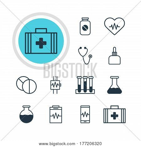 Vector Illustration Of 12 Medical Icons. Editable Pack Of Round Tablet, Treatment, Heart Rhythm And Other Elements.