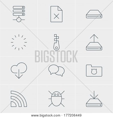 Vector Illustration Of 12 Network Icons. Editable Pack Of Fastener, Delete Data, Wireless Network And Other Elements.