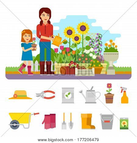 Woman gardener plants a flower and takes care of the flower garden. Mom and daughter plant flowers, watering flower garden. Gardening vector flat illustration, infographic elements with garden tools.