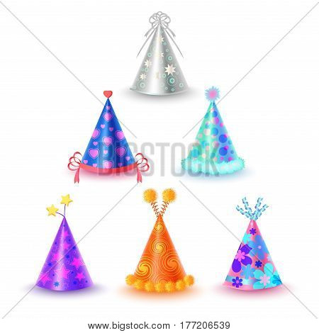 Festive cups collection in cartoon style on white background. Accessory for children birthday celebration. Triangular hood various colors with buboes and stars vector illustration flat design.