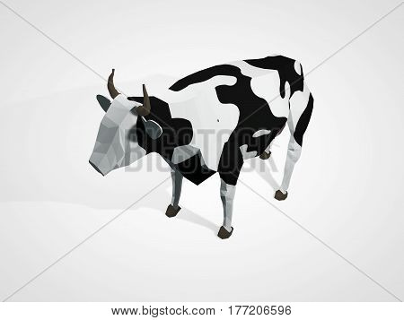 Origami cow. Polygonal cow. Geometric style cow standing full-length in front of white background. Holstein black and white cow isolated. 3D illustration