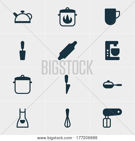Vector Illustration Of 12 Restaurant Icons. Editable Pack Of Kitchen Dagger, Bakery Roller, Teakettle And Other Elements.