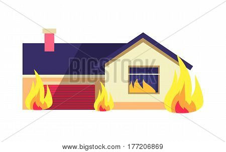 Burning building isolated on white background. House consists of dwelling place and one garage in terrible situation. Vector cartoon illustration of destruction of residential building with fire.