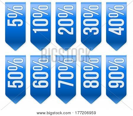 Set of Popular Ribbons with different percentages of discount. Realistic modern style. Blue color. Vector Isolated on white background.