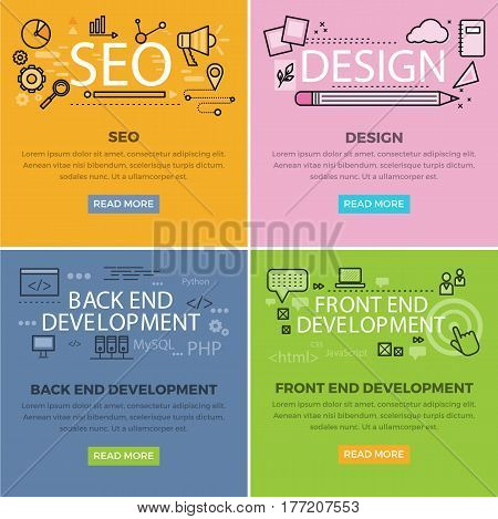 Set of internet technology web banners. SEO and design web templates. Back end and front development developing square concepts with vector line art pictogram and icons for company landing page