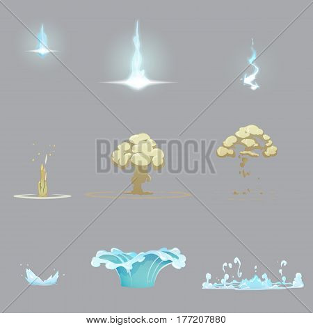 Set of various nature effects and explosions on different stages, lightning strike thunderbolt, fog explosion on the ground, wate splash. Magic nature effects illustrations.