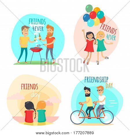 Friends forever. Friendship Day set of vector illustrations in flat style. Two men make barbecue and drink beer, girls with balloons, woman on beach and men on double bicycle. Happy people together