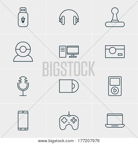 Vector Illustration Of 12 Technology Icons. Editable Pack Of Joypad, Headset, Game Controller And Other Elements.