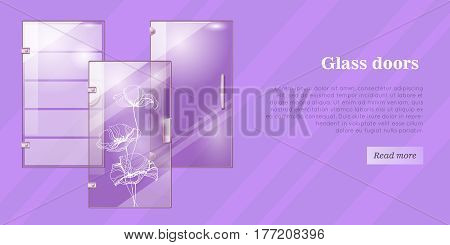 Glass doors conceptual web banner. Glossy office or boutique transparent doors with shaped handle and poppy flower ornament flat vector illustration. Furniture components store landing page template