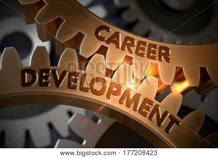 Career Development - Technical Design. Career Development - Illustration with Glowing Light Effect. 3D Rendering.