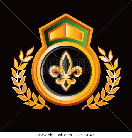 fleur de lis orange and green lined royal display