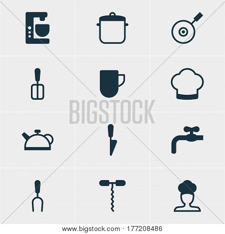 Vector Illustration Of 12 Kitchenware Icons. Editable Pack Of Teakettle, Cooking Spade, Faucet And Other Elements.