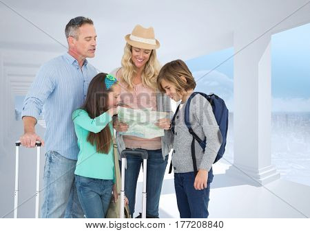 Digital composite of parents and children looking at map against white place