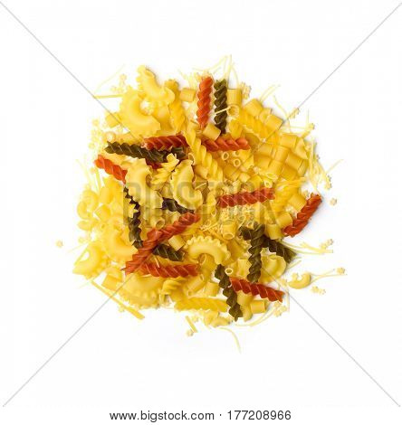 Big pile of pasta of various kinds, lying in a pile, many different sorts, topview