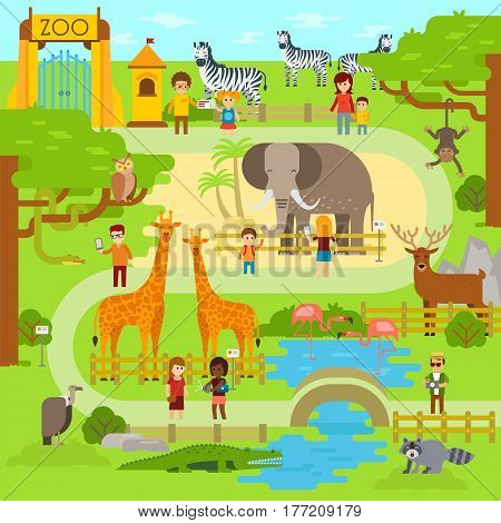 Zoo vector flat illustration. Animals vector flat design. Zoo infographic with elephant, giraffe, vulture, crocodile, monkey, deer, zebra and snake. People walk in the park, zoo. Zoo map, banner
