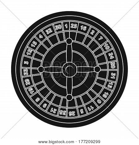 Roulette with red and black cells. The most popular casino game in the world.Kasino single icon in black style vector symbol stock web illustration.