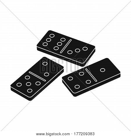 Dominoes for playing in the casino. Gambling for money.Kasino single icon in black style vector symbol stock web illustration.